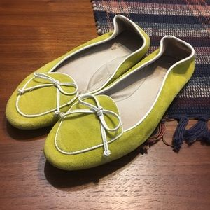 Adorable yellow suede loafers